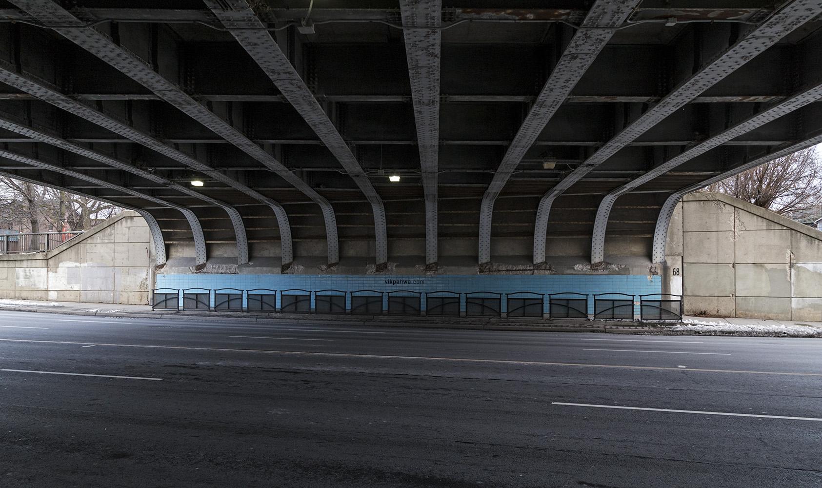 20161230. Striking blue tiles line the sidewalks under Toronto's
