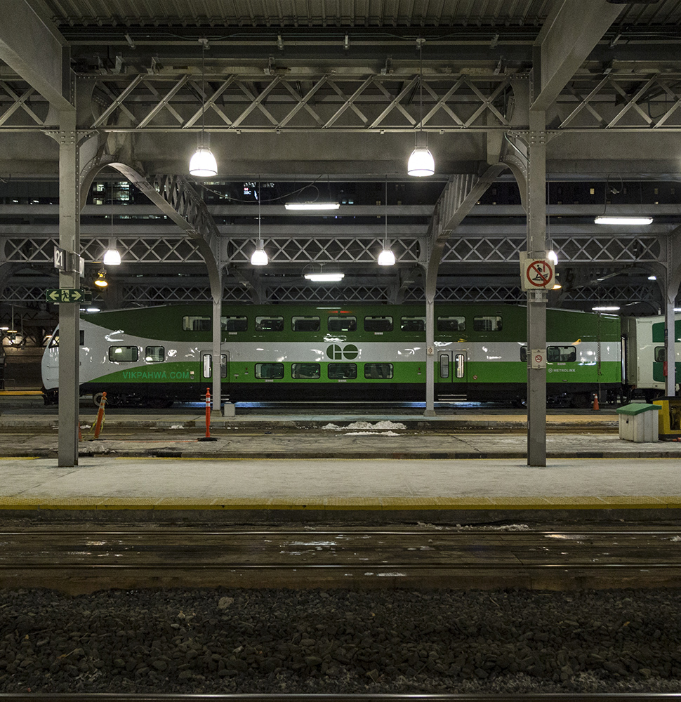 20170113. A profile view of a 61,000 kg GO Transit bi-level coac