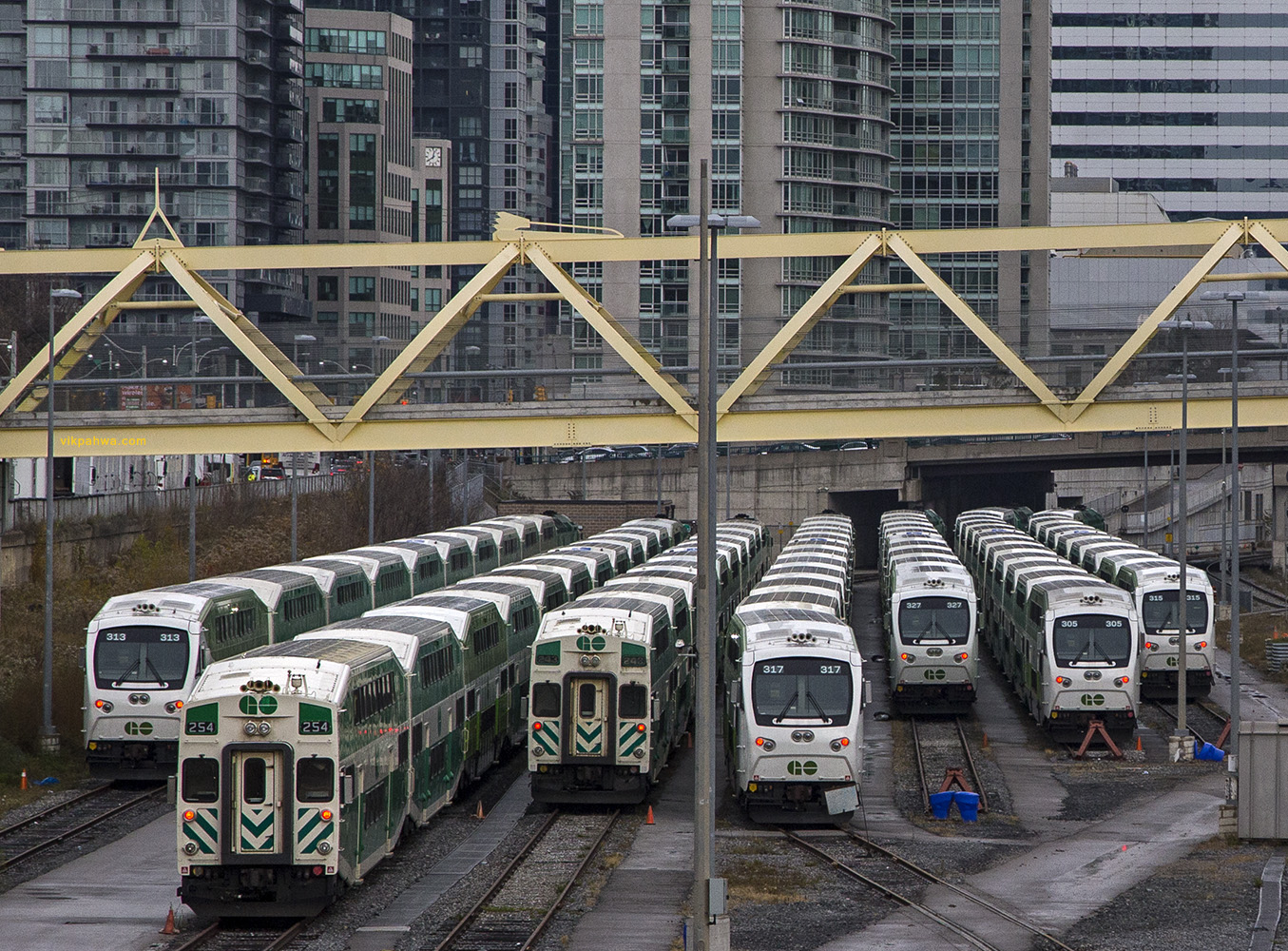 20170227. Several new GO Transit coach and cab cars await rush h