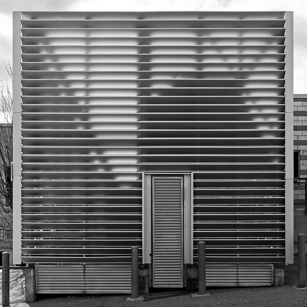 20170415. Cuboid aluminum mechanical shed. Loretto College Schoo